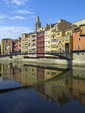 Girona. 's riverside in catalonia, Spain Stock Photos