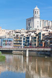 Girona brug. Oude stad stock foto's