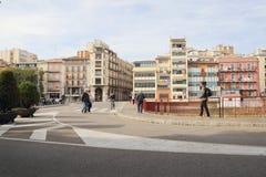 GIRONA, CATALONIË/SPANJE - November 1, 2017: Kleurrijke huizen binnen royalty-vrije stock foto