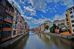 Girona, Catalonia, Spain. Colorful houses and apartments by the river Onyar in the historic city of Girona, Catalonia, Spain Stock Images