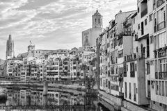 Girona Catalunya, Spain houses along the river Stock Image