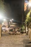 Girona (Catalunya, Spanien) vid natt Royaltyfria Foton