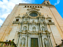 Girona Cathedral in Catalonia, Spain, Romanesque, Gothic and Baroque architecture Royalty Free Stock Images