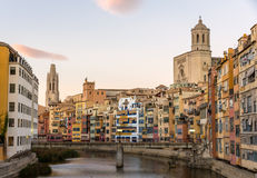 Girona Cathedral and Collegiate Church of Sant Feliu Royalty Free Stock Photos