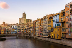 Girona Cathedral and Collegiate Church of Sant Feliu Stock Image