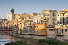 Girona Cathedral and his colourful houses II Stock Images