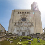 Girona cathedral landmark with sun flare Stock Photos