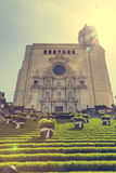Girona cathedral landmark with sun flare Royalty Free Stock Image