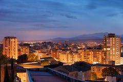 Girona City Twilight Cityscape in Spain Stock Photo