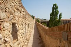 Girona city wall landscape. View along the ancient city wall of Girona, or Gerona, Catalonia, Spain Stock Photo
