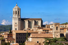 Girona Cityscape With Cathedral Of Saint Mary Royalty Free Stock Photos