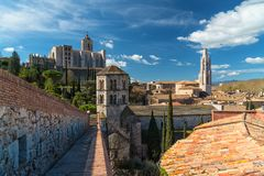 Girona cityscape, view from the old city walls Royalty Free Stock Photos