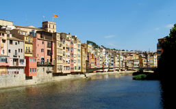 Girona, colored houses on the bank river Onyar Royalty Free Stock Photo