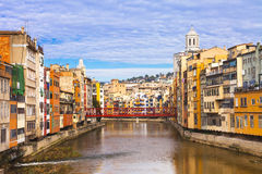 Girona - colorful town in Spain royalty free stock photos