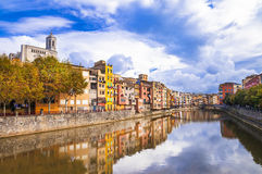 Girona - colorful town , Spain royalty free stock photo