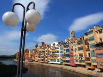 Colourful Apartments, Girona, Spain Royalty Free Stock Image