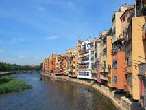 Colourful Apartments, Girona, Spain Stock Photo