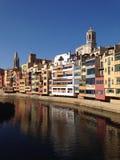 Girona de kleur van het rivierhuis Royalty-vrije Stock Foto