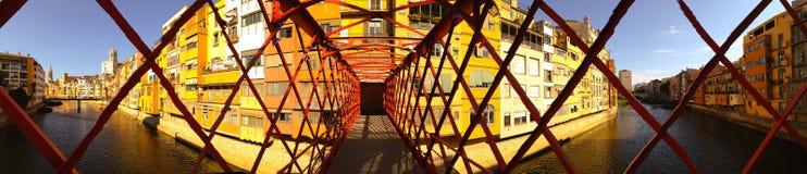 Girona Eiffel rivier Royalty-vrije Stock Afbeeldingen