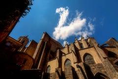 GIRONA, ESPANHA - EM MAIO DE 2016: Vista de Girona - catedral gótico em G Fotografia de Stock