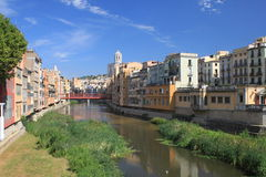 Girona Houses. Old Houses at river Onyar Royalty Free Stock Photos