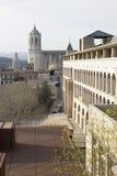Girona Kathedraalmening van de muur Stock Afbeeldingen