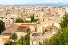 Girona La parete della fortezza Fotografia Stock Libera da Diritti