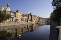 Girona landscape. Houses alon river onyar in girona Royalty Free Stock Photography