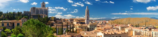 Girona linii horyzontu panorama fotografia royalty free