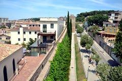 Girona miasto stare ściany, Catalonia, Hiszpania Zdjęcia Royalty Free