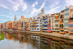 Girona. Multi-colored facades of houses on the river Onyar. Stock Image