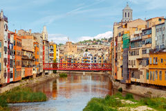 Girona. Multi-colored facades of houses on the river Onyar. Royalty Free Stock Photos