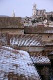 Girona nella neve. Immagine Stock Libera da Diritti