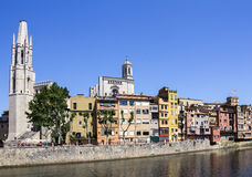 Girona picturesque small town with Colorful houses Stock Photography