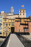 Girona picturesque small town with Colorful houses Stock Photo