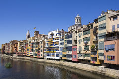 Girona picturesque small town with Colorful houses Stock Photos