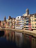 Girona river house colour. Girona river water house Royalty Free Stock Photo
