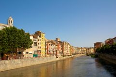 Girona Riverside and Cathedral Stock Photos