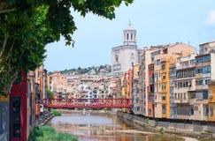 Girona. Rzeczny Onyar. Hiszpania Fotografia Royalty Free