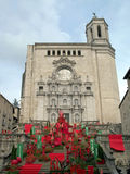 Girona's cathedral. In temps de flors festival Royalty Free Stock Images