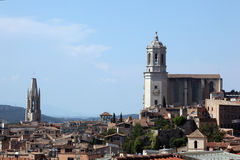 Girona's cathedral and city roofs Royalty Free Stock Photography