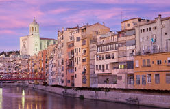Girona's Cathedral and the colouful houses Stock Photos