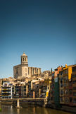 Cathedral, Girona. Spain. Girona`s gothic chathedral overlooking the River Onya, Girona. Spain royalty free stock images