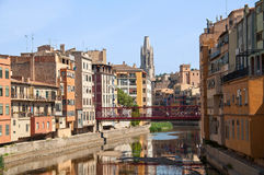 Girona`s Old Town and The Collegiate Church of San Royalty Free Stock Photo