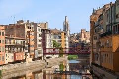Girona ` s Stary miasteczko i Uczelniany kościół Sant Feliu Zdjęcie Royalty Free