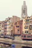 Girona skyline, houses in the river. Landmark in Catalonia. Royalty Free Stock Photo
