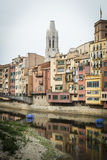 Girona skyline, houses in the river. Landmark in Catalonia. Royalty Free Stock Photos