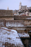 Girona in the snow. Royalty Free Stock Image