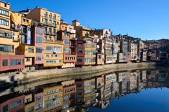 Girona, Spain. Colorful houses and apartments by the river Onyar in the historic city of Girona, Catalonia, Spain Stock Image