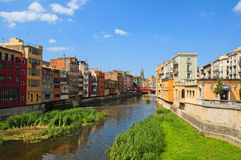 Girona, Spain. Houses over Onyar river in Girona, Spain Stock Photography